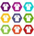 men polo shirt icon set color hexahedron vector image vector image