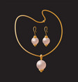 necklace pearl elegant earrings golden accessories vector image
