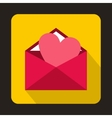 Open envelope with pink heart icon flat style vector image vector image