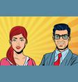 pop art business couple vector image