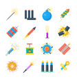 pyrotechnics set icons in a flat style vector image vector image