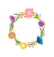 round frame with color sketchy flowers and grass vector image vector image