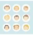 set 9 cartoon boys faces vector image