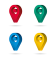 Set color maping pin location 3d icons vector image vector image
