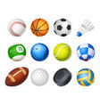 set isolated realistic sport balls vector image