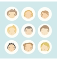 Set of 9 cartoon boys faces vector image vector image