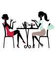Silhoette women in cafe vector image