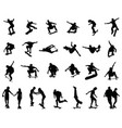 silhouettes skate jumpers vector image