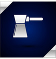 silver coffee turk icon isolated on dark blue vector image vector image