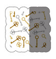 sticker pattern with vintage keys of gold and vector image