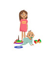 toddler boy crawling on the floor his sister vector image