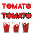 Tomato juice Set of cups and mugs with tomato vector image