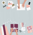 top view female hands holding present box packa vector image