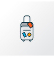 travel bag icon colored line symbol premium vector image
