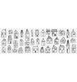various houses and buildings doodle set vector image