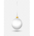 white christmas ball with ribbon and bow vector image vector image