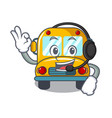 with headphone school bus mascot cartoon vector image