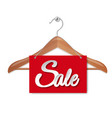 wooden hanger with sale paper banner isolated vector image vector image