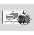 hand drawing bubble speech social media mobile vector image