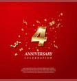 4th anniversary celebration golden number 4
