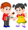 a boy giving his girlfriend a piece of cake vector image