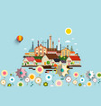 abstract industrial city with flowers vector image vector image