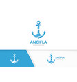 anchor logo combination marine and vector image vector image