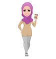 arabic business woman smiling cartoon character vector image vector image