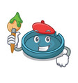 artist ashtray character cartoon style vector image