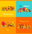 autumn thanksgiving concept set vector image vector image
