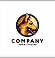 awesome yellow dog logo design vector image vector image