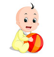 baby boy cartoon holding colorful ball vector image vector image