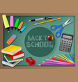 back to school written and school items vector image vector image