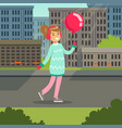 beautiful smiling gtirl with pink balloon walking vector image vector image