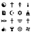 black religion icon set vector image vector image
