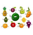 Cartoon garden and tropical fruits vector image vector image