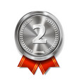champion silver medal with red ribbon vector image vector image