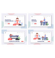 characters apply acupuncture therapy landing page vector image