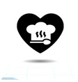 chef hat sign icon in heart valentines day vector image