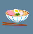 chinees food noodle meat plate sticks asian vector image