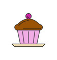 chocolate cupcake food thin line icon vector image