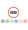 exit label rounded icon vector image