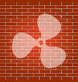 fan sign whitish icon on brick wall as vector image vector image