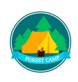 flat forest camping round logo template vector image vector image
