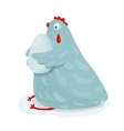 Funny Mom Hen Sitting Hugging Egg vector image vector image
