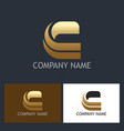 gold letter c shape company logo vector image