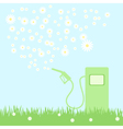 green gas pump on a green field with camomiles vector image