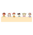 group cartoon kids over blank placard portrait vector image