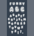 handwritten english abc alphabet of white letters vector image