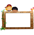 Kids and a white board vector image vector image